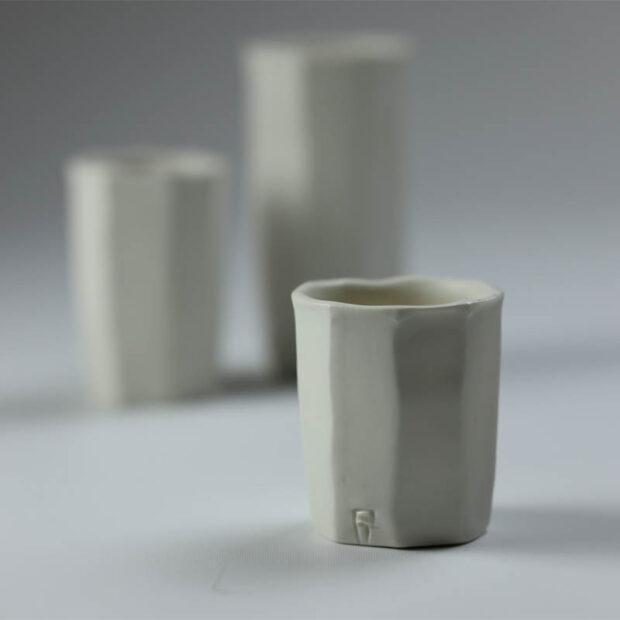 Trio Tasse KF 3 | Eric Faure | Trio de Tasses à Café | Produit | 54,00€ | 96516291 | 3 tasses à café tournées et sculptées en porcelaine émaillée | Eric Faure | Terre et Terres | 10 décembre 2020