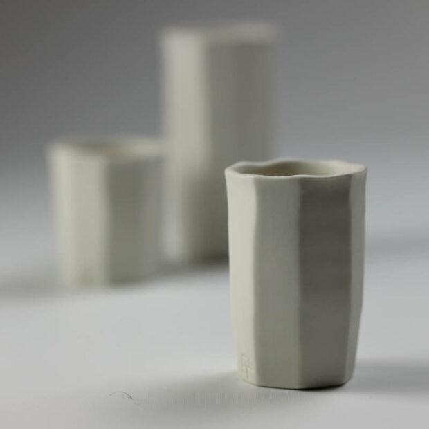 Trio Tasse KF 4 | Eric Faure | Trio de Tasses à Café | Produit | 54,00€ | 96516291 | 3 tasses à café tournées et sculptées en porcelaine émaillée | Eric Faure | Terre et Terres | 10 décembre 2020