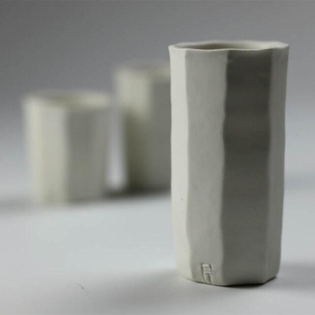 Trio Tasse KF 5 | Eric Faure | Trio de Tasses à Café | Produit | 54,00€ | 96516291 | 3 tasses à café tournées et sculptées en porcelaine émaillée | Eric Faure | Terre et Terres | 10 décembre 2020