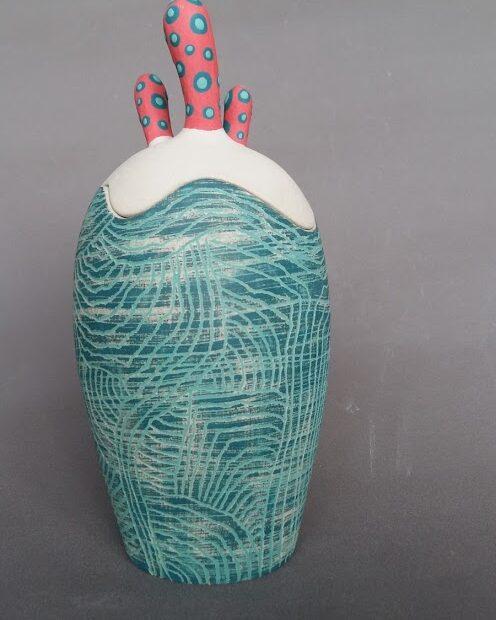 20201203 120155 | Marion Lebreton | Boite cactus bleu et rouge | Produit | 75,00€ | 31766674 | Boite grès blanc engobé | Marion Lebreton | Terre et Terres | 10 décembre 2020